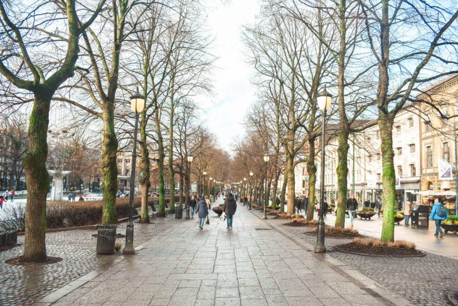 Karl Johans Gate'ye yürüyüş yapın, bir cafede oturup etrafı seyredin.