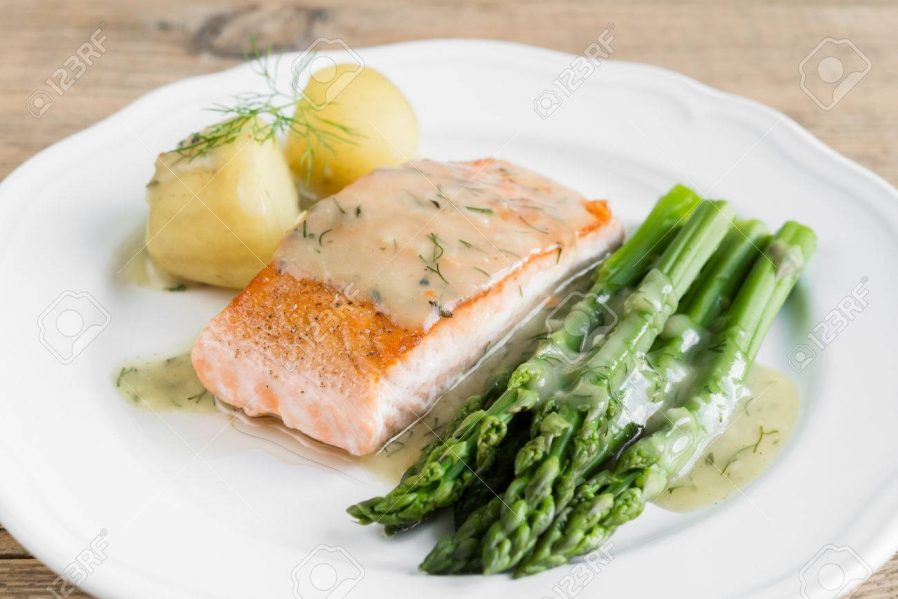 Marinated Salmon with Dill Potatoes